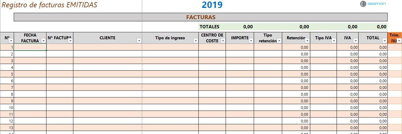 Registro de facturas ejemplo - Z1 Gestión